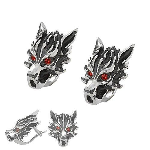 NKlaus Coppia d'argento 925 Orecchini a testa di lupo in argento Sterling Biker Gioielli Gotico Zircone Rosso 6163
