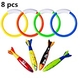 FULLSEXY 8 Pcs Underwater Swimming Pool Diving Rings, Diving Throw Torpedo Bandits Toys for Kids Gift Set, Training Dive Toys for Learning to Swim
