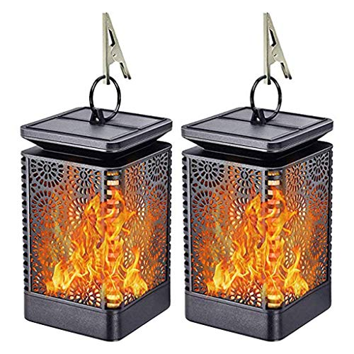 YYhkeby Goodluccoy Solar Lantern Outdoor - Dancing Flames Lights Waterproof Hanging Lanterns Auto On/Off Lighting Dusk To Dawn 99 Bright LED Garden Decor (2 Pack) Jialele