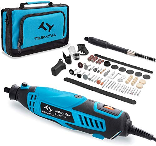 Rotary Tool 160W Tilswall Rotary Multi Tool Kit with 6 Variable Speed 8000-33000RPM, 145pcs Accessories for Cutting, Sanding, Carving, Polishing, Drilling, Engraving, Cleaning