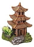 """Nobby 28216 Aquarium Dekoration Aqua Ornaments """"Asiatischer Tempel"""" mit Pflanzen L-10 x B-9 x H-14.5 cm"""