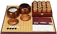 囲碁、中国のチェスセット、厚い両面チェス盤無垢材チェスの駒ポータブル大人の子供向けゲームの移動