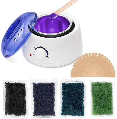 wachs haarentfernung, wachs, Wachswärmer, Wachsperlen für haarentfernung, haarentfernung wachs, waxing set, Haarentfernung set schmerzfrei einfach, 4X100g Wachsperlen, 30 Spatel