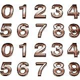 20 Piezas Números de Buzón Reflexivos 0-9 Números de Casa Números de Puertas Autoadhesivos Números Buzón Reflectantes para Casa Buzón (Color Cobre, 2 Pulgadas)