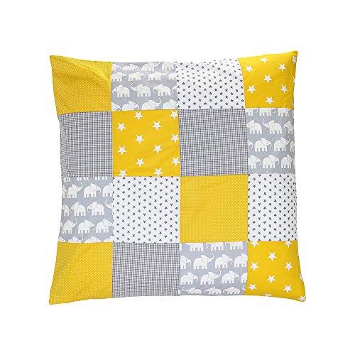 Funda nórdica para bebé de ULLENBOOM ® de 80x80 cm con de color elefantes amarillo (apta también como colcha para el cochecito o cojín decorativo; dibujo: anclas, estrellas)