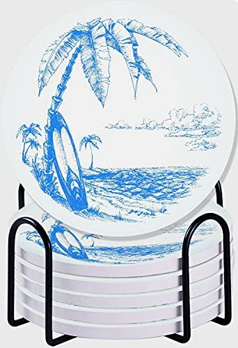 CIKYOWAY Posavasos para Bebidas,Tabla de Surf Palm Tree and Ocean Water Juego de 6 Posavasos absorbentes con Soporte de Metal/Fondo de Corcho,para Casa Restaurante Y Bar