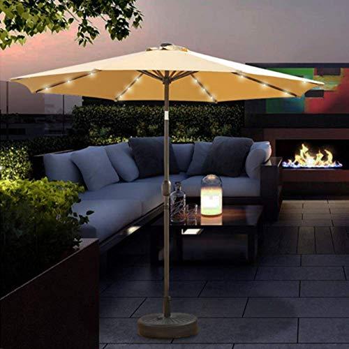 Gogh 2.7m Jardín Parasol Umbrella Toldo al Aire Libre con Luces LED solares, Paraguas del Patio con función de manivela/de inclinación, Herramienta de jardín y Muebles (sin Base)