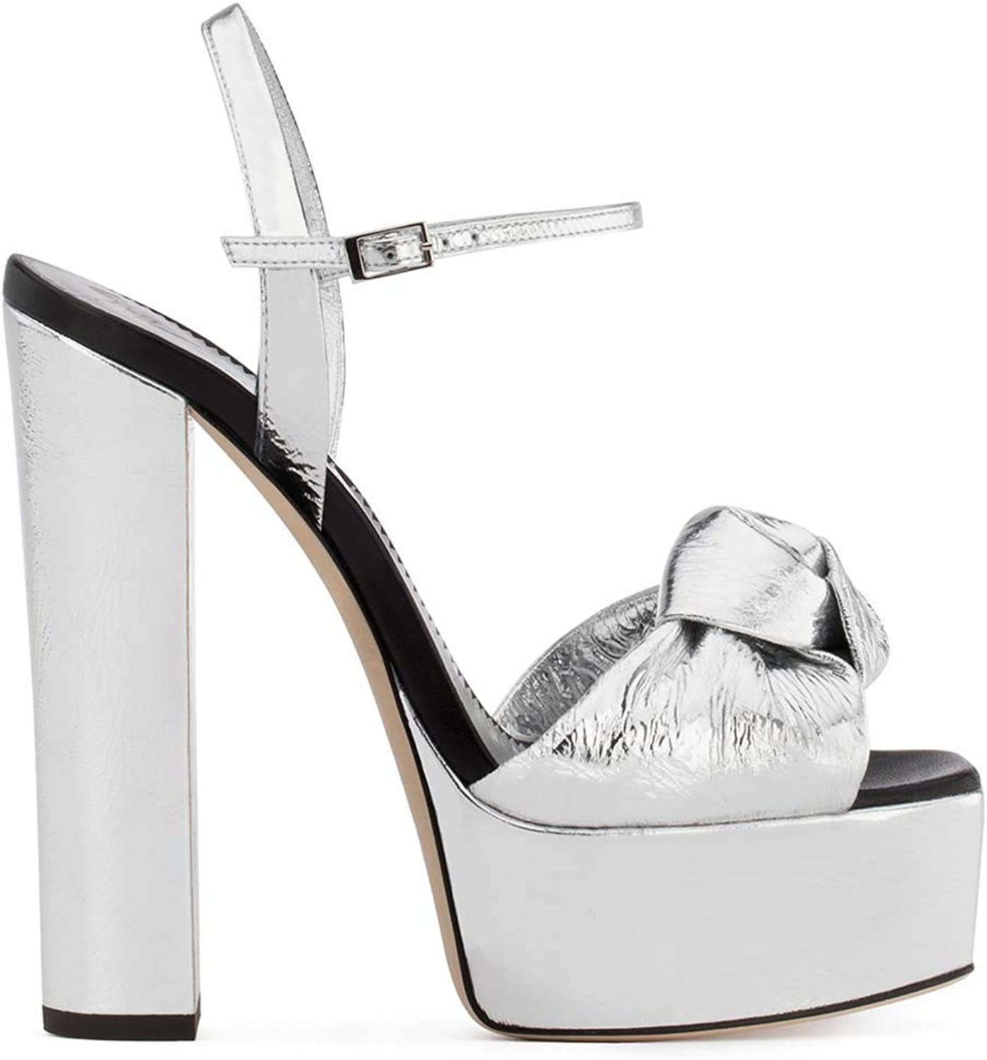Womens Platform Ankle Strap Chunky High Heels, Sexy Peep Toe Dressy Sandal Wedding Party Evening shoes Pump