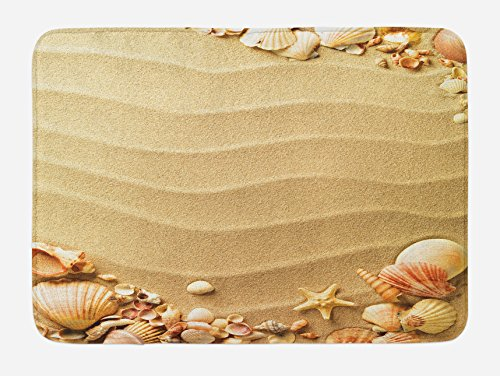 Ambesonne Beach Bath Mat, Nautical Composition with Sandy Beach Frame Surrounded by Various Sea Shells, Plush Bathroom Decor Mat with Non Slip Backing, 29.5' X 17.5', Tan Sand