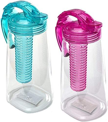 SYue Kunststoffkaraffe mit Fruchteinsatz BPA frei | Türkis | Wasserkaraffe, türkis