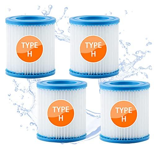 woejgo Cartucho de filtro de piscina tipo H, filtro de piscina para Intex, tipo H, cartuchos de filtro para filtro de jacuzzi, Easy Set Pool, 4 unidades