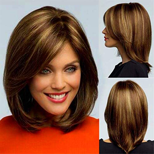 Leifeng Tower Excellent wig Hair Replacement Wigs, Women's Fashion Daily Wearing Ombre Brown with Blonde Highlight Shoulder Length Short Bob Straight Cosplay Wig (12.6 inch)