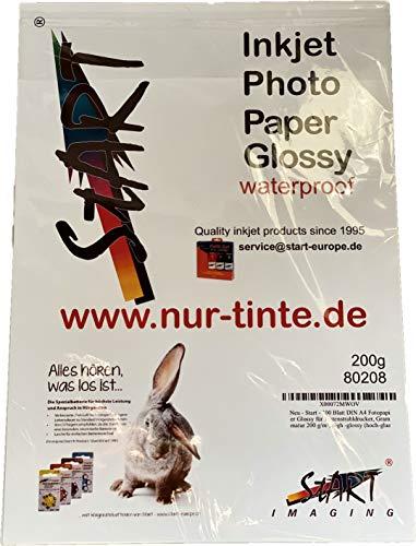 Start - 100 Blatt DIN A4 200 g/m² Fotopapier Glossy für Tintenstrahldrucker (InkJet), einseitig, sofort trocken, wasserfest, hochweiß, hohe Farbbrillianz