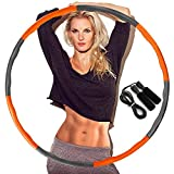 DUTISON Hoola Hoop for Adults, Weighted Hoola Hoop for Exercise-1KG, 8 Section Detachable Design-Professional Soft Fitness Hoola Hoop with Skipping Rope- Orange and Grey