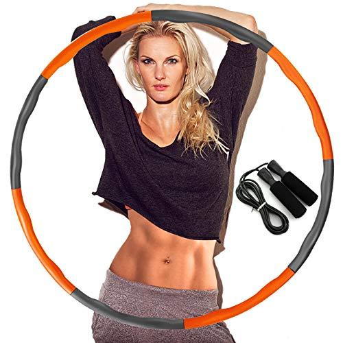 DUTISON Hula Hoop zur Gewichtsreduktion,Reifen mit Schaumstoff Gewichten Einstellbar Breit 48–88 cm beschwerter Hula-Hoop-Reifen für Fitness mit Springseil -Orange und Grau