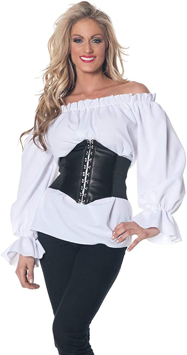 Renaissance off the Shoulders Womens Adult White Pirate Costume Corset Shirt