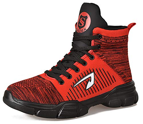 SUADEX お洒落な 軽量 安全靴ハイカット あんぜん靴 ブーツ 作業靴 冬用 作業靴 作業はいカット 赤 ブーツ作業 安全半長靴 あんぜん ショートブーツ安全 鋼先芯 耐摩耗 ケブラー防刺 耐滑
