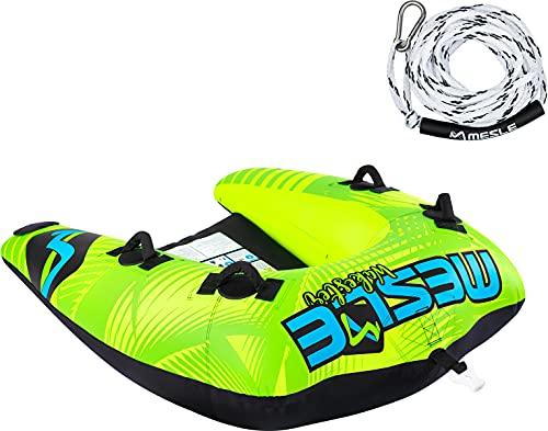 MESLE Tube Set Wakester mit Leine, 1-2 Personen, Towable Fun-Tube, aufblasbarer Schlepp-Reifen, Kinder Erwachsene, Inflatable Wassersport Schlepp-Ring für Motor-Boot Jet-Ski, Farbe:Leine PPK White