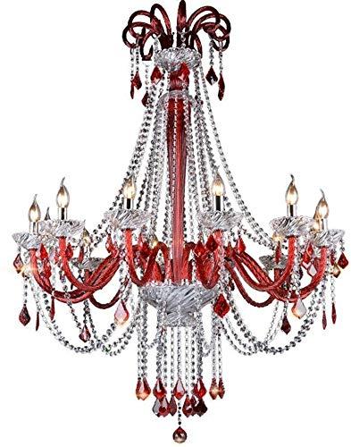 Kroonluchter Well-Made Man Cafe kroonluchter Kleur Rood Crystal Light Net Cafe Hotel-Ballsaal KTV Licht kledingwinkel kroonluchter 12 D102 * H125Cm (W) Mooi