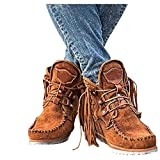 AODONG Ankle Boots for Women,Low Chunky Heel Boots V Cut Ankle Booties Casual Women Western Platform Boots