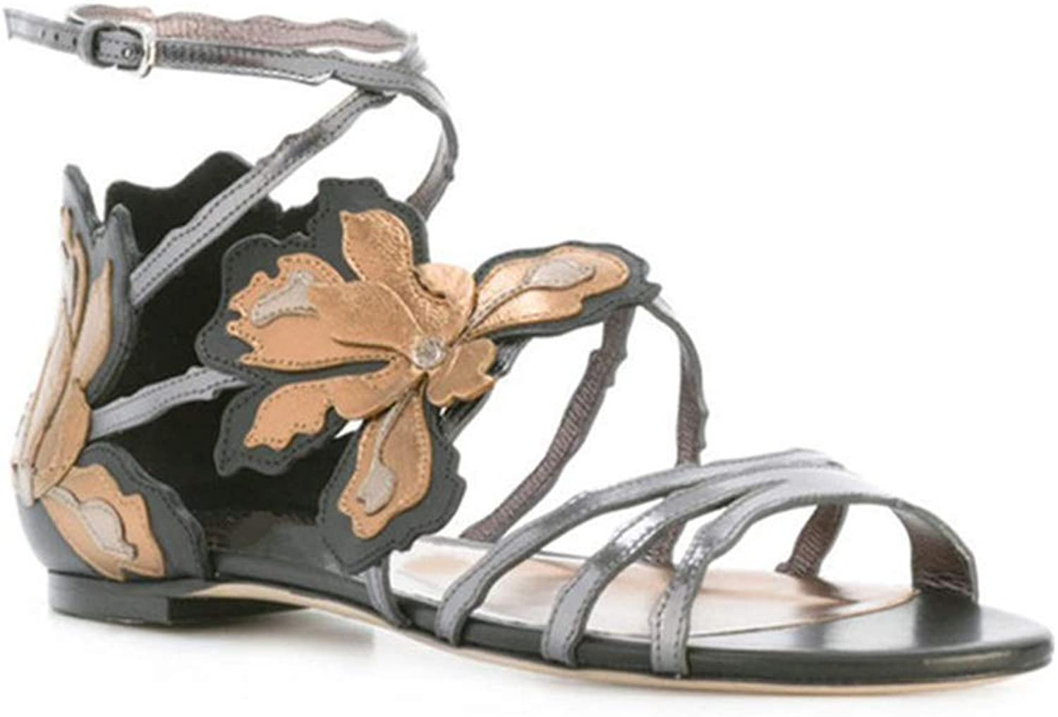 Ladies Sandals Artificial PU Open Toe Bag with Flat Sandals Roman Flowers Decorative Buckle shoes Summer New