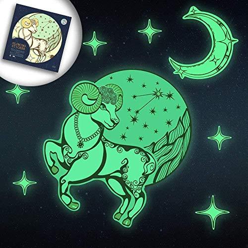 Luminous stickers, 12 sterrenbeelden maak mooie Milky Way, geschikt for constellatie liefhebbers of prachtige geschenken, Ram, Kleur: Kreeft (Color : Aries)