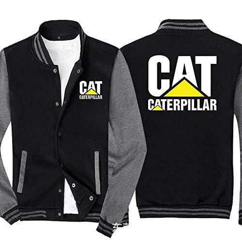 Sweat-Shirt Veste Homme Caterpillar Imprimé Sweat-Shirt à Manches Longues De Baseball Uniforme Zip Blousons - Cadeau Ado Black Gray- 2XL