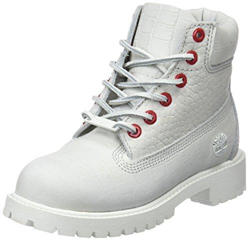 Timberland Unisex Kinder 6 Inch Premium Waterproof Klassische Stiefel, Weiß (White Cardinal Exotic 100), 33 EU