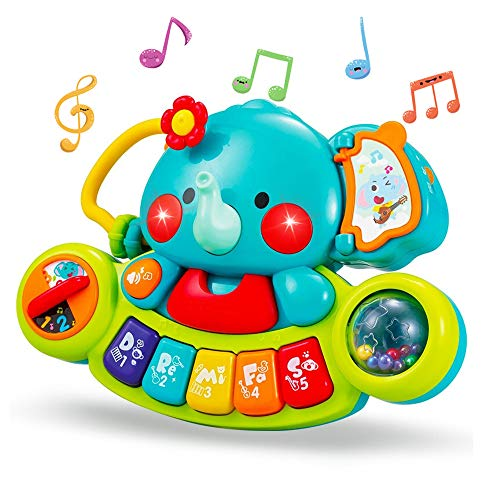 Yiosion Musical Elephant Toy Electronic Piano Keyboard Educational Learning Light Up Toy Set Music Activity Center Birthday Gifts for 1 Year Old Baby Newborn Infants Toddlers