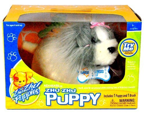 Cepia Zhu Zhu Puppies Series Adorable Moving ZhuZhu Puppy - Grey and White Miss Priss with Brush (1/23) by Cepia