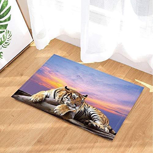 Gothic #90 Alfombra de baño con diseño de Tigre Amarillo bajo el Sol