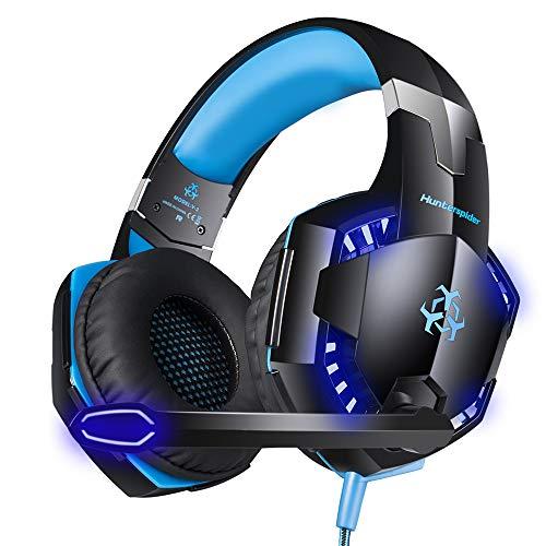 Docooler Hunterspider V-2 Auriculares para Juegos sobre la Oreja Auriculares con Cable para Juegos de 3.5 mm Auriculares con cancelación de Ruido con micrófono Luz LED Control de Volumen AUX + USB