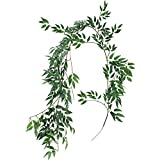 5.7' Artificial Hanging Willow Leaves Vines Twigs Fake Silk Willow Plant Leaves Garland String in Green for Indoor/Outdoor Wedding Decor Jungle Party Supplies Greenery Crowns Wreath