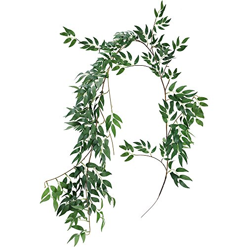 Supla 5.7 Feet Artificial Hanging Willow Leaves Vines Twigs Fake Silk Willow Plant Leaves Garland String in Green for Indoor/Outdoor Wedding Decor Jungle Party Supplies Greenery Crowns Wreath