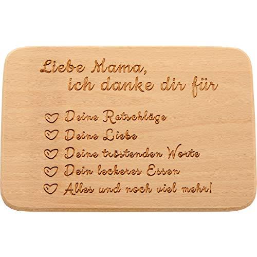 Spruchreif PREMIUM QUALITÄT 100% EMOTIONAL · Frühstücksbrettchen aus Holz mit Gravur · Brotbrett mit Sprüchen · Geschenk für die Mutter · Geburtstag (Liebe Mama, ich Danke dir für)