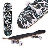 Aceshin monopatín Completo de 30.6 Pulgadas de Largo para Principiantes y Profesionales, Tricks Skate Board Cruiser Skateboard Ruedas de PU Suave para niños y jóvenes Principiantes