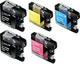 Sherman Ink Cartridges 5 Pack Compatible Ink for MFC-J870DW, MFC-J450DW Replacement Ink Cartridge LC103 LC-103 2 Black, 1 Cyan, 1 Yellow, 1 Magenta Compatible with Printers MFCJ870DW, MFC-J450DW, MFC-J6920DW, MFC-J650DW, MFC-J4410DW