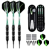 sanfeng Professional Soft Tip Darts Set 20 Grams W/ 50 O-Rings- 30 Darts Plastic Tip + Green Aluminum Shafts + 6 Standard Flights + Portable Case for Electronic Dart Board