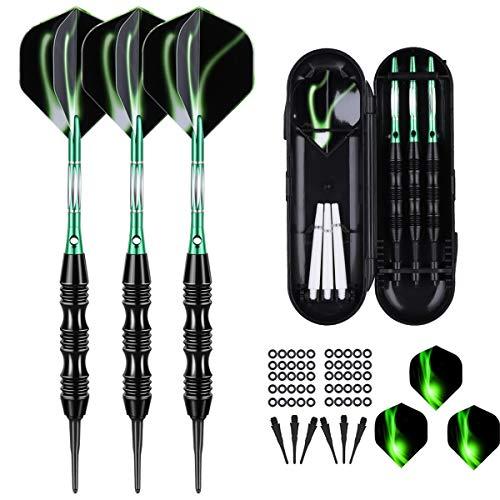 sanfeng Professional Soft Tip Darts Set 20 Grams W/ 50 O-Rings- 30 Darts Plastic Tip + Green Aluminum Shafts + 6 Standard Flights + Portable Case for Electronic Dart Board