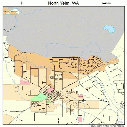 Large Street & Road Map of North Yelm, Washington WA - Printed poster size wall atlas of your home town