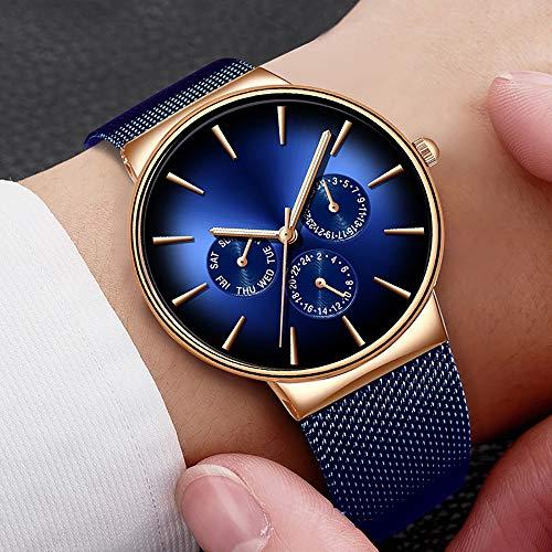 Moda para hombre relojes de lujo marca de negocios azul reloj de cuarzo para hombre casual impermeable fresco reloj Relogio Masculino