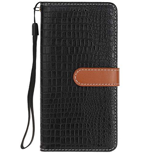ocketcase® Kompatibel mit Oukitel U7 Plus Hülle, PU Leder Flip Case Wallet Stylish mit Standfunktion Schutzhülle (Krokodilkorn 1)