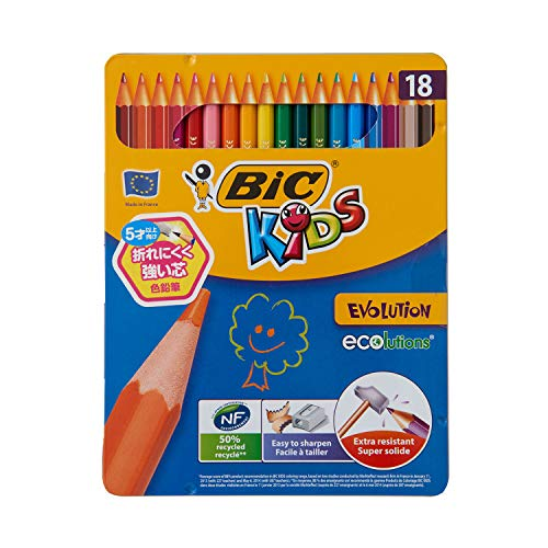 BIC Kids Evolution ECOlutions Coloured Pencils - Assorted Colours, Metal Box of 18