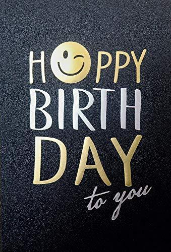Geburtstagskarte Happy Birthday | Glückwunschkarte zum Geburtstag | Karte mit Prägung | Glanz Karte edel | DIN B6 176 x 125 mm | Geburtstagskarten Set mit Umschlag | Klappkarte