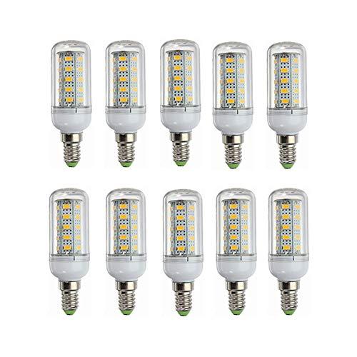 Liyuzhu Bombillas LED 12V E14 Base de lámpara de maíz LED de bajo Voltaje 24V E14 10-80V Bombilla 6W Bombilla 40W Equivalente a 10 Paquetes Paquete (Color : Warm White)