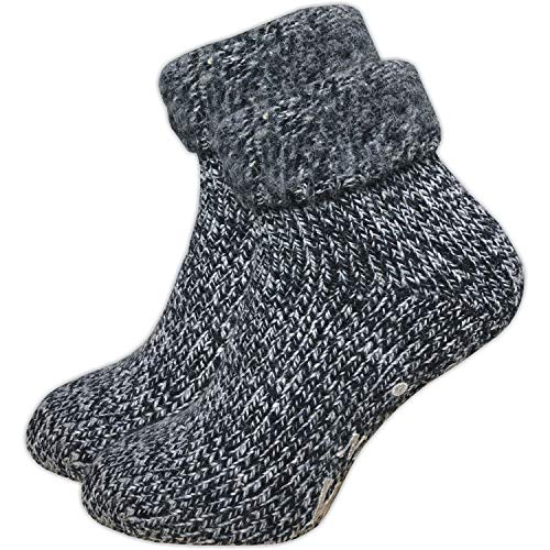 GAWILO 1 Paar Damen Stoppersocken – ABS Socken – Wollsocken – ohne drückende Naht – kuschelige Innenfrottee – ideal bei kalten Füßen (39-42, blau melange)