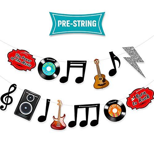 Blulu Pancarta Decoraciones de Notas Musicales Decoraciones de Fiesta Rock and Roll de Años 1950 Recortes de Cartón Decoración de Pared de Música de Karaoke