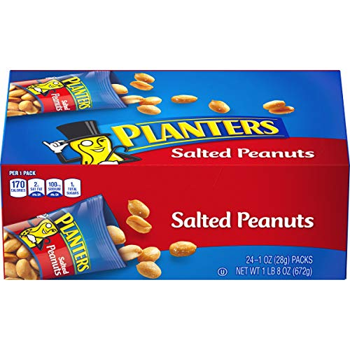 PLANTERS Salted Peanuts, 1 oz. Bags (24 Pack) - Snack Size Peanuts with Sea Salt & Simple Ingredients - Convenient Snacking - On the Go Snacks - Kosher