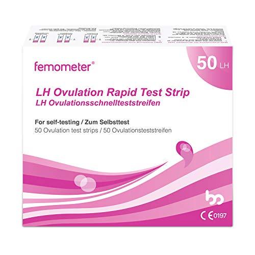 Femometer 50 Ovulationstests 20 miu/ml, Sensitive Fruchtbarkeits-Vorhersage Teststreifen, Genaue Ergebnisse mit smarter App (iOS & Android), Automatische Erkennung der,50 LH OPK