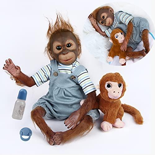 antboat Reborn Monkey Dolls 21 inch 52cm Soft Vinyl Silicone Realistic Baby Reborn Dolls Lifelike Monkey Newborn Reborn dolls Boy